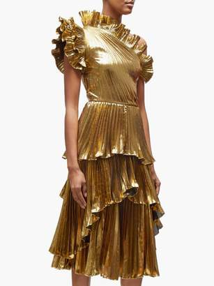 Altuzarra Kamala One Shoulder Ruffled Lame Dress - Womens - Gold