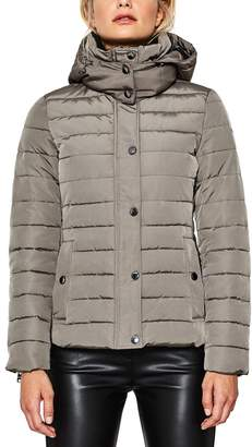 Esprit Mid-Length, Quilted Jacket with Detachable Hood