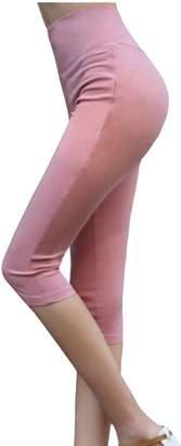 Etecredpow Women Solid Stretch Plus Size High Waist Skinny Tight Capri Leggings 3X-Large