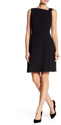 Tahari Asymmetrical Knot Neck A-Line Dress