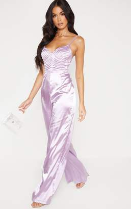 PrettyLittleThing Lilac Satin Quilted Bust Wide Leg Jumpsuit