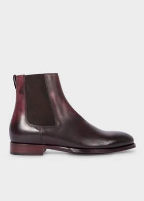 Paul Smith Men's Aubergine Leather 'Joyce' Chelsea Boots