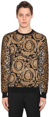Versace Animalier Viscose Blend Knit Sweater