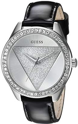 GUESS Women's Stainless Steel Leather Crystal Accented Watch