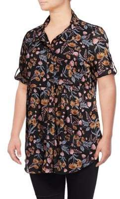 Style&Co. Style & Co. Plus Mesh Floral Shirt