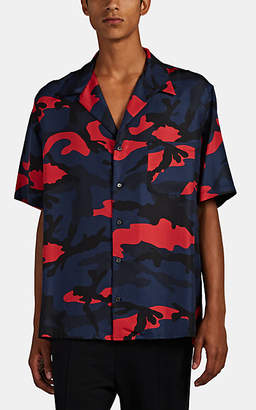 Valentino Men's Camouflage Silk Camp Shirt - Blue