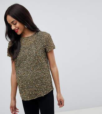 Asos Design Maternity T-Shirt With Sequin Embellishment
