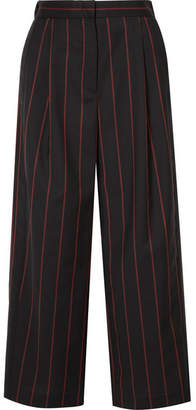 Versace Cropped Striped Wool Pants - Black