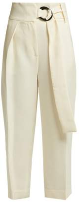 Petar Petrov Helge Wool And Silk High Waist Tailored Trousers - Womens - White