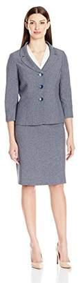 Le Suit LeSuit Women's 3 Button Melange Jacket Skirt Suit