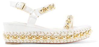 Christian Louboutin Rondaclou 60 Studded Leather Wedge Sandals - Cream