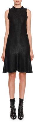 Alexander McQueen Sleeveless A-Line Shiny Floated Knit Knee-Length Dress