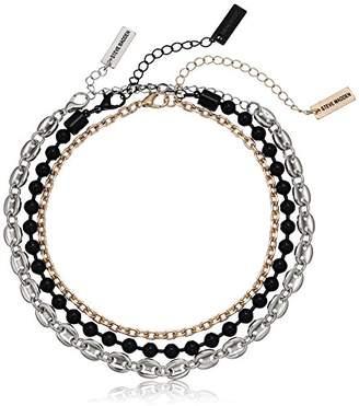 Steve Madden Gold Tone Black Beaded Three Piece Choker Necklace