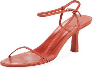 The Row Nude Asymmetric Leather Sandals