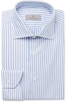 Canali Blue Slim-Fit Striped Cotton Shirt - Men - Blue