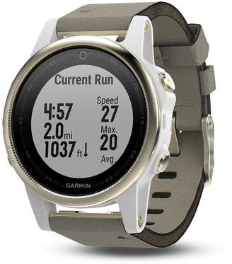 Garmin fenix 5S Sapphire Activity Tracker with Leather Band