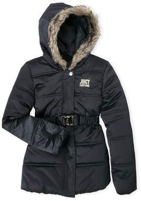 Juicy Couture Girls 7-16) Faux Fur Hooded Belt Jacket