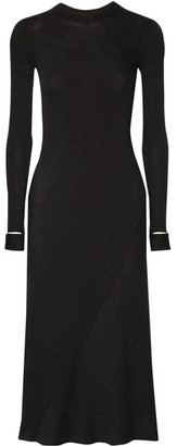 Helmut Lang - Cutout Ribbed Wool-blend Dress - Charcoal $425 thestylecure.com
