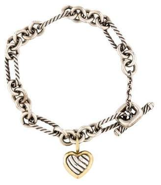David Yurman Two-Tone Cable Heart Charm Bracelet