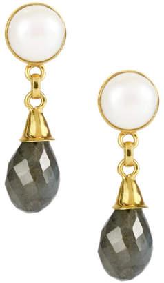 Saachi 18K Plated Labradorite & Pearl Drop Earrings