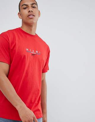New Look t-shirt with miami print in red