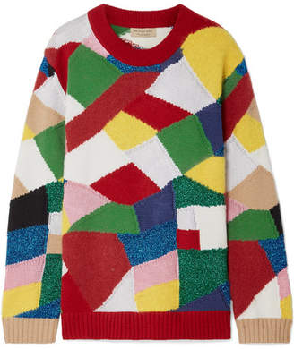 Burberry Color-block Knitted Sweater - Red