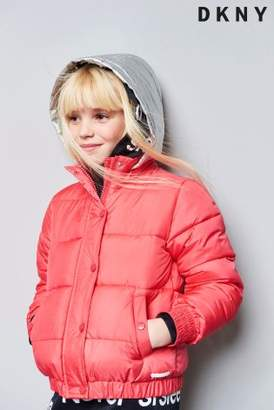 Next Girls DKNY Girls Pink Padded Jacket With Contrast Hood