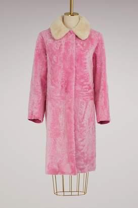 Sofie D'hoore Velvet and fur lamb coat