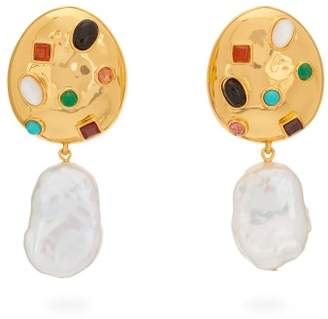 Lizzie Fortunato La Bomba Gold Plated Drop Clip Earrings - Womens - Pearl