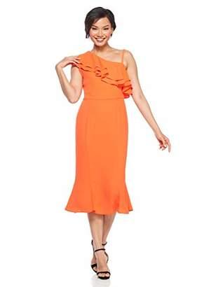 London Times Women's Petite ONE Shoulder MIDI Sheath with Flounce Dress