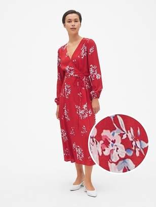 Gap Long Sleeve Wrap Midi Dress