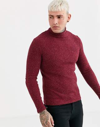 SikSilk muscle fit knitted roll neck sweater in burgundy