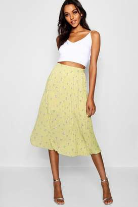 boohoo Cora Woven Floral Pleated Midi Skater Skirt