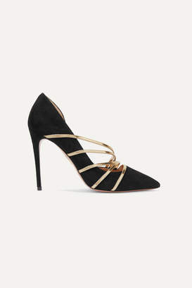 Aquazzura Minou 105 Metallic Leather-trimmed Suede Pumps - Black