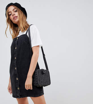Asos DESIGN Petite denim button through slip dress in black with tortoiseshell buttons