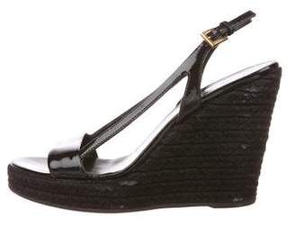 Prada Patent Leather Slingback Wedges