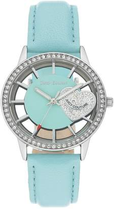 Juicy Couture Women's Light Blue Leather Strap Watch, 36mm