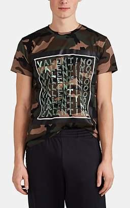 Valentino Men's Logo-Print Camouflage Cotton T-Shirt - Olive
