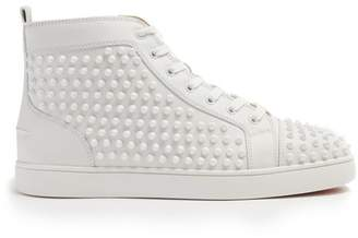 Christian Louboutin Louis Spiked Leather High Top Trainers - Mens - White