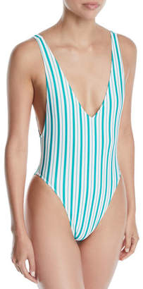 Lovers And Friends Pride Striped High-Leg One-Piece Swimsuit