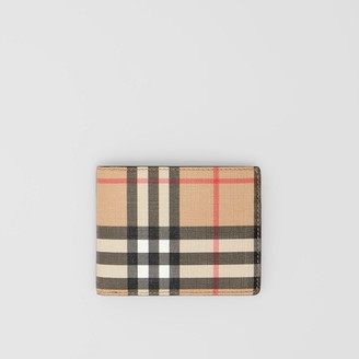 Burberry Vintage Check E-canvas and Leather Bifold Wallet