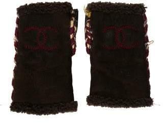 Chanel Shearling Fingerless Gloves