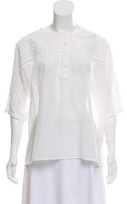 Closed Long Sleeve Embroidered Top