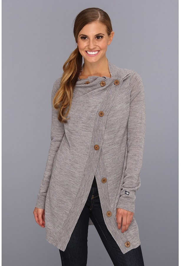 The North Face Hideaway Sweater Wrap (Heather Grey) Women's Sweater