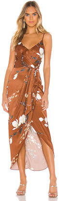 Shona Joy St Lucia Tie Front Draped Midi Dress