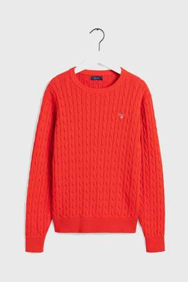 Gant Boys Boys Cotton Cable Crew Sweater - Orange
