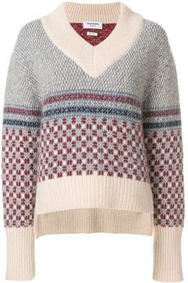 Thom Browne Crab Toy Icon Tweed V-neck Pullover