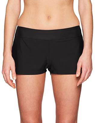 24th & Ocean Women's Elastic Band Swim Short Bikini Swimsuit Bottom