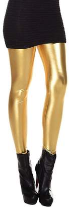 SODIAL(R)Metallic Wet Look Liquid Leggings Shiny Stretch Women Pencil Pants