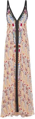 Temperley London Rosy Deep V Chiffon Dress